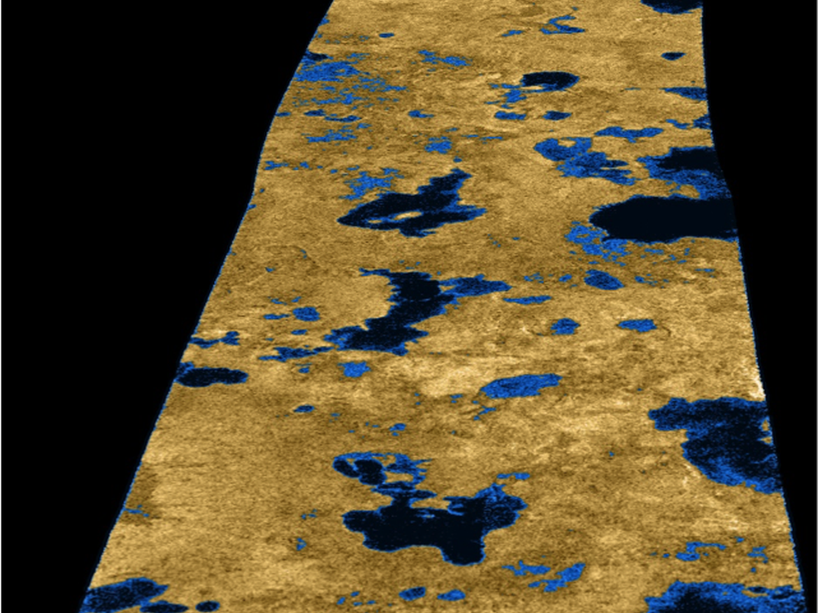 Cassini radar image of Saturn's largest moon Titan revealing lakes of liquid hydrocarbons.