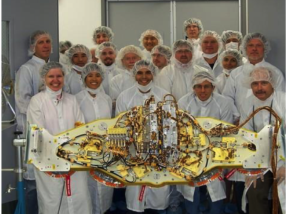 The Mars Science Laboratory (MSL) landing radar with the development team.