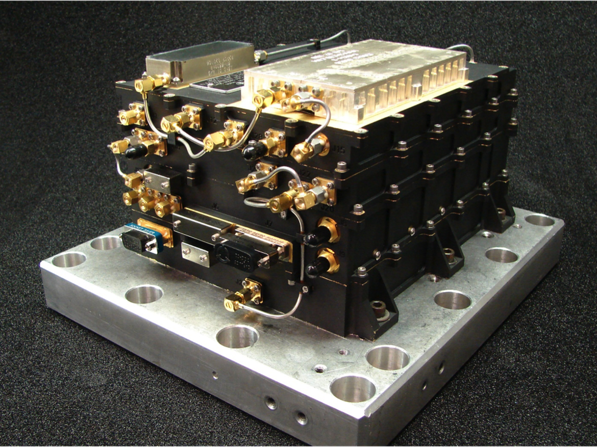 Universal Space Transponder can be configured to operate on deep space or near earth bands as needed